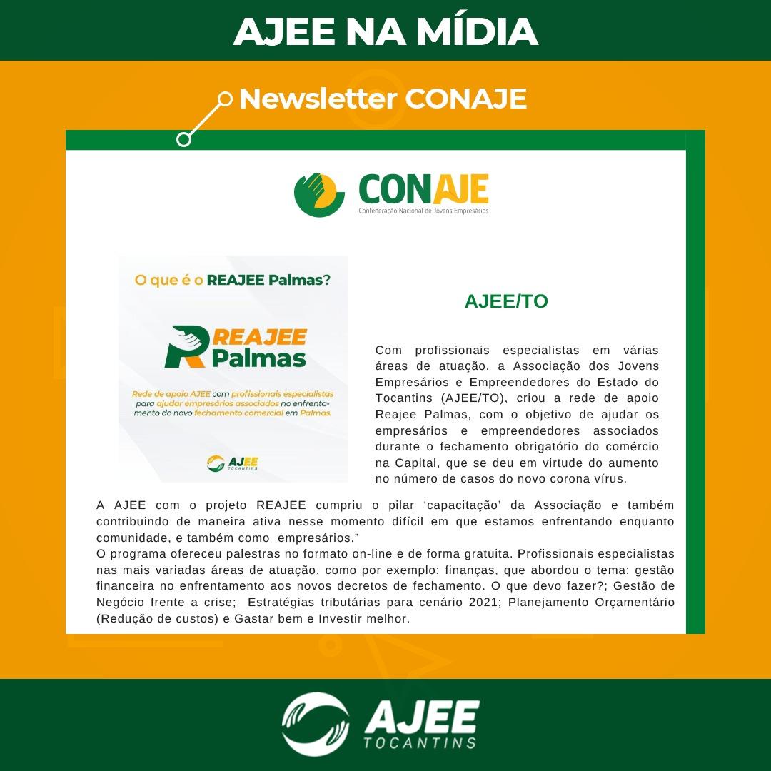 A AJEE é detaque na Newsletter de abril da CONAJE com o projeto REAJEE Palmas
