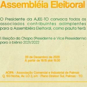 Convocação para Assembleia Eleitoral AJEE-TO Biênio 2021/2022